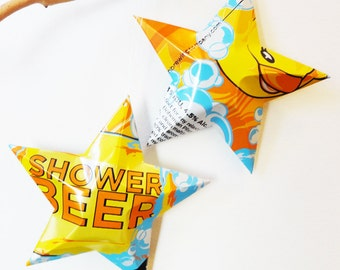 Champion Shower Beer, Rubber Ducky, aluminum can stars, Beer Can Ornaments, Set of 2, Yellow Orange Bubbles