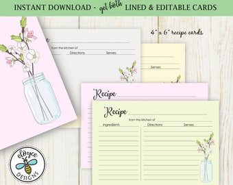 Mason Jar Recipe Cards 4x6 both lined and editable bridal cards cooking baking jars - Instant Download No 867