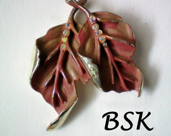 Signed BSK Autumn Leaves Brooch - 2324