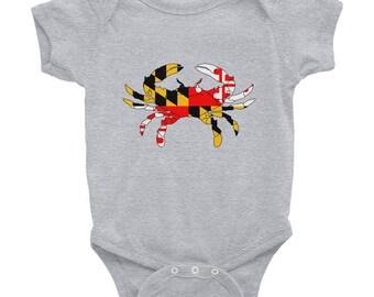 Maryland Flag Crab Baby Onesie Bodysuit