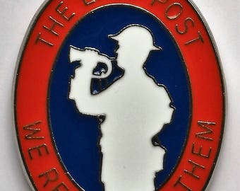 WW1 / WW2 The Last Post Remembrance Enamel Badge Supporting Troop Aid Charity