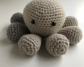 "Stuffed animal- Ready to Ship- ""Gus"" amigurumi baby octopus"