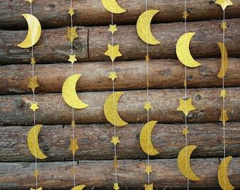 Moon and Stars Garland Gold Glitter Nursery Decoration Kids Birthday Background Baby Shower Favor Twinkle Twinkle 12 Feet