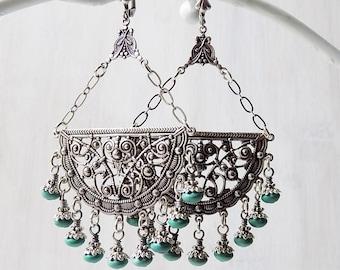 Turquoise earrings, bohemian earrings, long earrings, gypsy earrings, ornate filigree earrings, turquoise green, festival jewelry, hippie