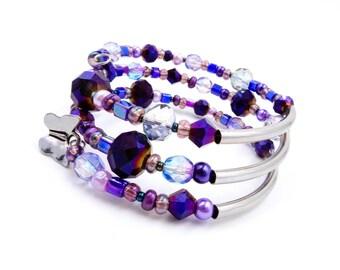 Purple beaded bracelet, butterfly bracelet, butterfly jewelry, purple wrap bracelet, purple and silver bracelet, purple coil bracelet