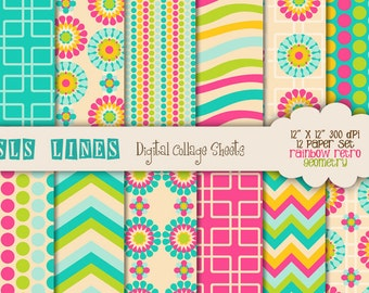 rainbow retro geometric paper digital set, colorful background papers pink green blue flowers, digital scrapbooking set commercial use