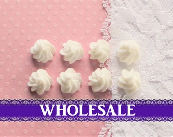 50 Pcs Tiny White Whipped Cream Dollop Cabochons - 12x10mm