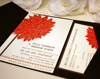 SAMPLE Dahlia in the Wind Pocketfold Wedding Invitation, Red, Chocolate Brown, Purple Save the Date, Pink, Grey, Outdoor Flower, Modern