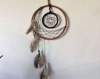 Crescent Moon Dreamcatcher with Feathers and Howlite