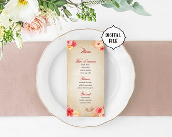 Flower wedding Menu, autumn flower menu, printable wedding menu, shabby chic menu, roses wedding menu, flower menu, red floral menu, rustic