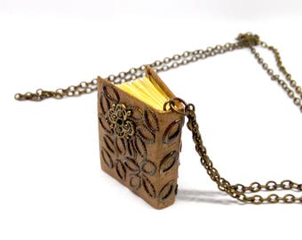 Book binding necklace, mini book necklace, mini book jewelry, opening book pendant, Book pendant, mini diary necklace, reader's gift