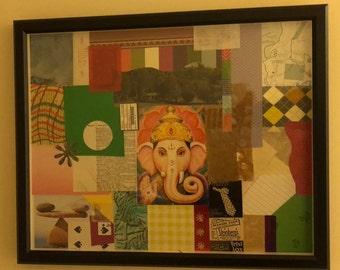 16X20 Framed Handmade Ganesha Inspired Collage