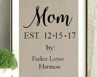 Mom EST, Mom Est Date, First Mothers Day, Mothers Day Gift, New Mom Gift, Baby Shower Gift, Custom Mothers Day Gift, Custom Baby Shower Gift
