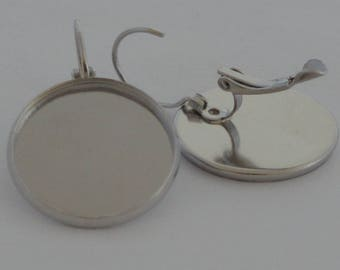 6 supports for cabochons 20mm Platinum earrings