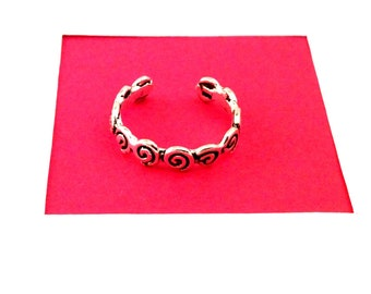 925 Sterling Silver Toe Ring Adjustable with Swirls