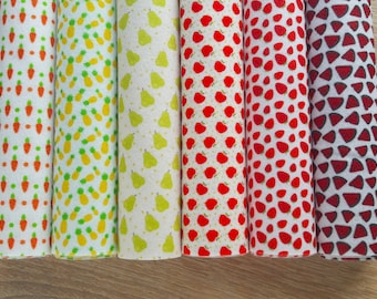 6 Printed Soft Felt Sheets with food patterns, carrot pineapple pear apple strawberry watermelon