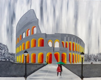 Romantic Walk by the Colosseum in Rome, Italy - Acrylic Painting