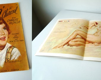 Mid century Art Instruction Book, Drawing with Charcoal with Charles La Salle, SALE