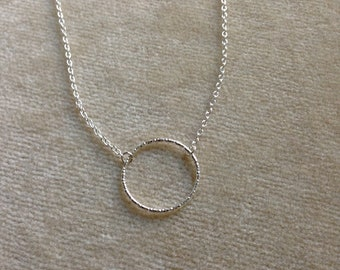 Sterling Silver Hammered, Textured Circle, Minimal Layering Necklace 1198