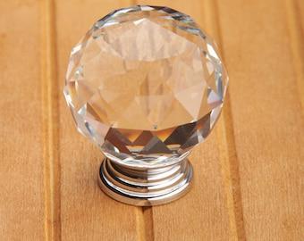 "1.2"" Sparkle Glass Crystal Knobs Diamond Clear Silver Gold / Kitchen Cabinet Knobs Pulls Handles / Dresser Drawer Knob Hardware"