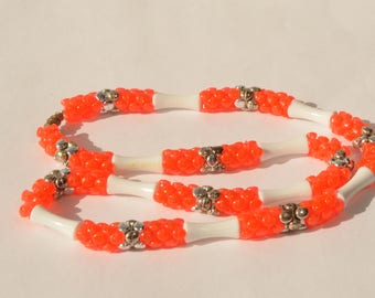 Vintage Orange White Lucite Silver Tone Bead Necklace 22""