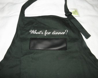 "Green Apron BBQ Chalkboard APRON Embroidered 30"" With USABLE Chalkboard What's for dinner - Ready to Ship"