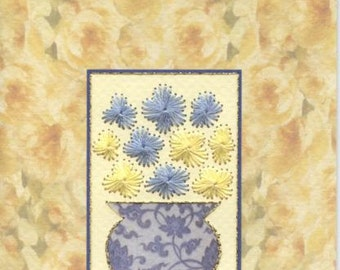 Stitched floral design greetings card