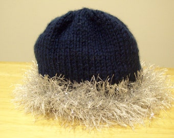Navy and Silver Handknitted Chanukah Baby Hat by hipknitta