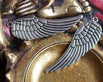 1 charm Tibetan silver angel wing charm pendant