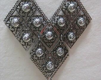 Chunky Silver Filigree Necklace Vintage Pearl Teardrop Dangle