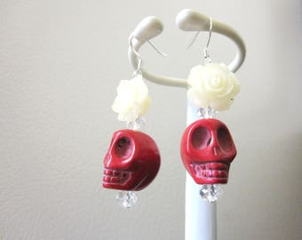 Red Sugar Skull Earrings Day Of The Dead Jewelry