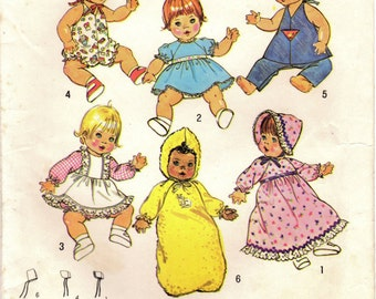 1970s Simplicity 7208 Vintage Sewing Pattern Baby Doll Wardrobe 18 Inch Baby Doll Clothes