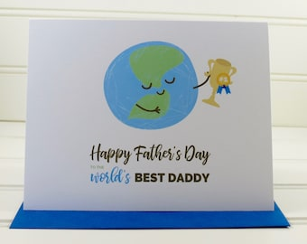 Happy Father's Day Card, World's Best Daddy, Fathers Day Card, Card for Daddy, Card from Kids, Card from Baby, from child, Personalized Card