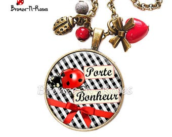 Necklace cabochon gingham lucky Ladybug red jewelry Christmas gift black