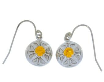 Citrine Round Dangle Earrings .925 Sterling Silver