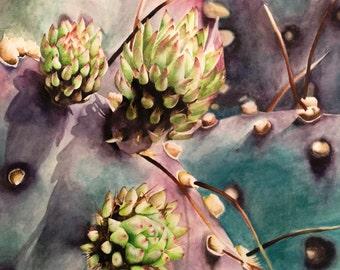 Beautiful Purple Cactus Watercolor Print