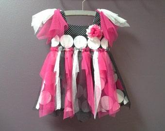 50% OFF SALE, baby tutu dress, dress, pixie fairy dress, baby girl party dress, 3 6 month old, pink white black tulle tutu, polka dot dress