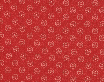 1/2 Yard - MIDWINTER REDS - Floral Cameo Bud Red by Minick & Simpson for Moda Fabrics.