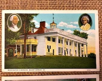 Collection of Seven Mount Vernon/George Washington Vintage Postcards