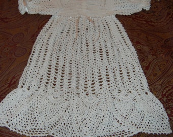 Crochet Christening Dress Gown White Cotton with Pineapple Hem and Puff Sleeves