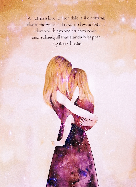 "Mother and daughter ""their world"" blonde art print, with quote"