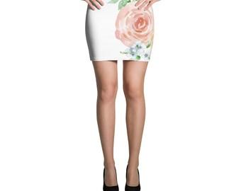 Watercolor Rose Mini Skirt