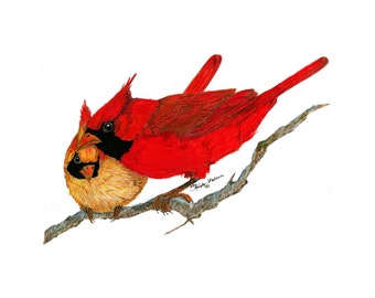 Pair of Cardinals, Giclee print