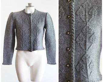 1980s gray knit cardigan