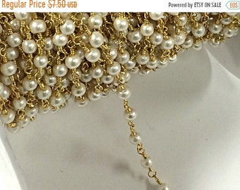 40% OFF 4mm White Cream Glass Pearl Gold Plated Wire Wrapped Chain by Foot - Rosary Bead Chain 1 Foot - CH215-10