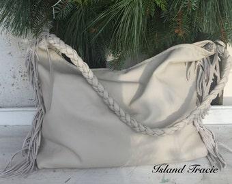Leather Fringe Purse Slouchy Hobo Handbag Made to Order