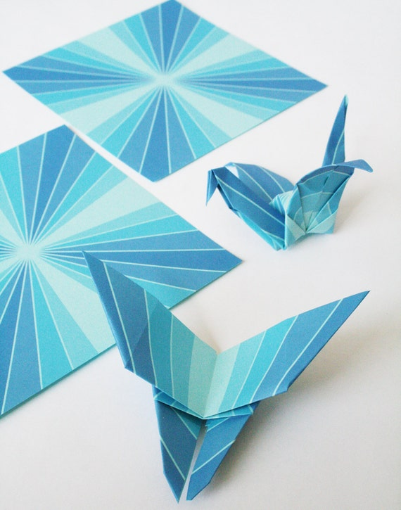 Items Similar To Origami Paper   Bluebird Geometric Origami Paper, 5 Inch  Squares For Folding Origami, Blue, Symmetrical, DIY Gifts On Etsy