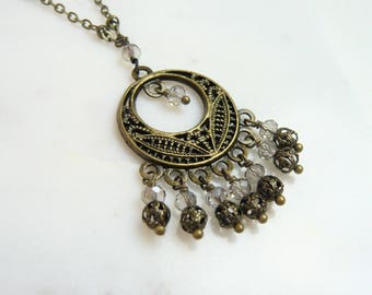 Crystal And Antiqued Brass Filigree Chandelier Necklace