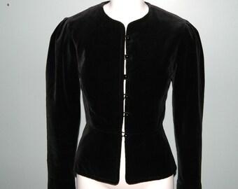 Vintage Ladies Tailored Black Velvet Button Up Blazer Size Small
