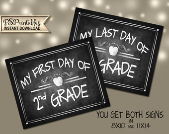 2nd Grade Photo Prop Signs   PRINTABLE Signs, 2nd Grade School Sign, 2nd Grade Milestone Chalkboard Prop, First Day of School, Last Day Sign